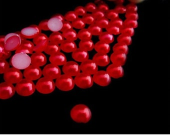 1000 RED Half Round Imitation *Pearl Beads*   2mm, 3mm, 4mm, 5mm.