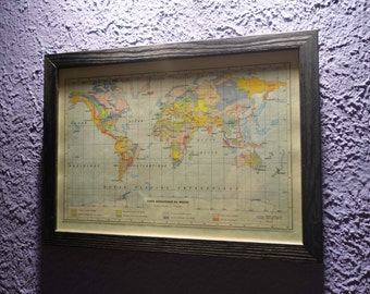 Old map of the world (1959) - vintage original geological map of the world in color dating back to 1959 (21 cm x 29, 7 cm)-sold box