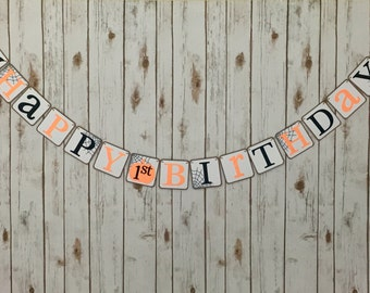 First Birthday Halloween Banner, Halloween Banner, First Birthday, Halloween Party, 1st Birthday Banner, Happy Birthday Banner, Photo Prop