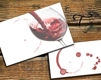 Business Card Template Designs red wine glass traces of wine Business Card - 2 sided  Print Business Card Template  INSTANT DOWNLOAD