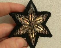 1 French Antique metal bullion star  trim black silver millinery 1900 edwardian millinery handmade / costume dramas etc