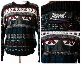 Vintage Men's Sweater - With Leather Triangles ! Impact 80s Retro Large Long Sleeve Fall Winter
