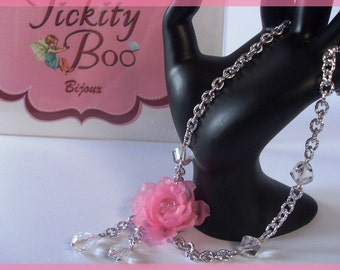 Aluminium chain necklace with pink flower with crystals