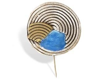 Turquoise  Summer Pin for Women, Elegant Enamel Pin for Her, Enamel Pin, Geometrical Inspired Jewels, Contemporary Brooch,Handmade