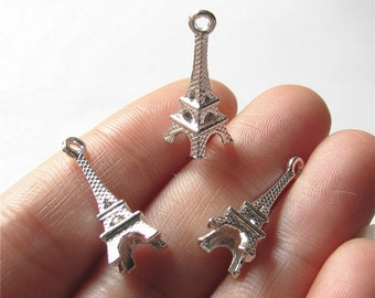 Eiffel Tower Charm Pendant Shining Silver Drop Handmade Jewelry Finding 8x23mm 5pcs