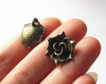 Rose Flower Charm Pendant Antique Brass Drop Handmade Jewelry Finding 16x16mm 4 pcs