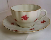 Arabia of Finland Rusty Rose with Leaves Tea Cup and Saucer