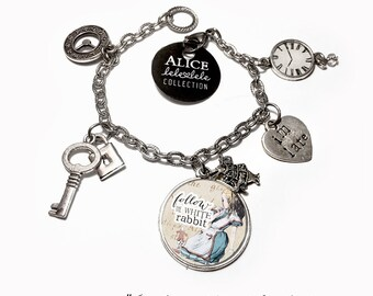 Bracelet with Follow the Rabbit pendant and charms  - Alice in Wonderland Collection