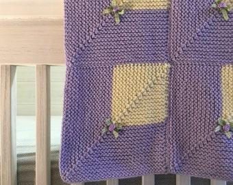 Lavender Knit Baby Blanket