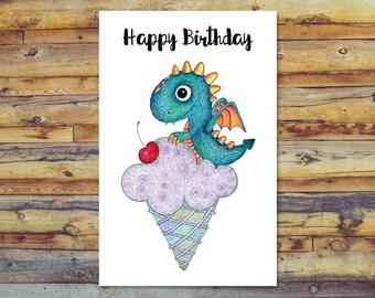 Dragon Card, Printable Birthday Card, Blank Cards, Dragon Birthday Card, Digital Download, Instant Download, Dragon Art, Pencil Drawing