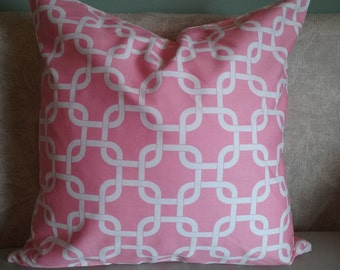 Pink pillow cover, pink and white, geometric, pillow cover, decorative pillow, accent pillow, home decor, girl
