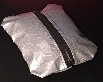 Silver flat clutch thick fabric