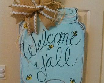 Welcome Y'all Mason Jar Wood Door Hanger