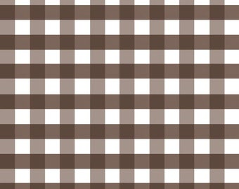 Brown Gingham Fabric - Riley Blake Large Gingham Fabric - Brown and White Check Fabric
