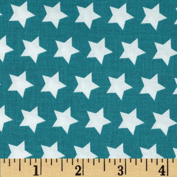Teal Star Fabric - Riley Blake Basics Fabric
