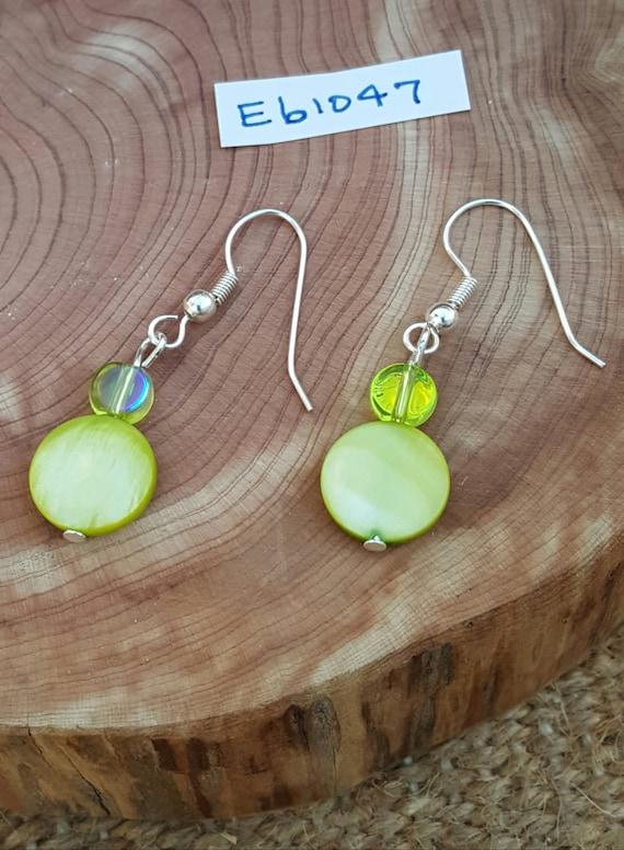 Green Earrings / Lime Green Tones / Mother of Pearl / Semi Precious Stones / Dangle Earrings / Hippie Earrings / Boho Jewelry /E61047