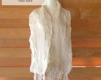 Natural White on White Silk Felted Wrap / Handmade / Women's Gift Idea / Merino Wool / Metallic Fibers / Long / Art