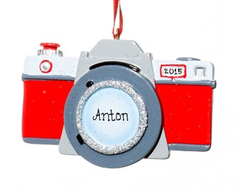 Personalized Ornament- Red Camera Ornament- Free Gift Bag Included