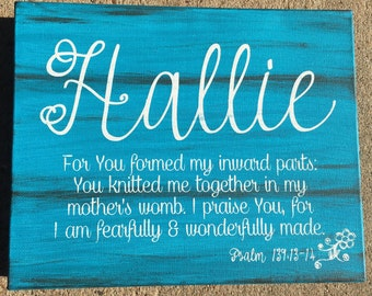 Psalm 139 Personalized Canvas