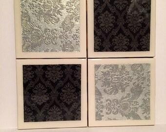 Silver Damask Decorative Coasters