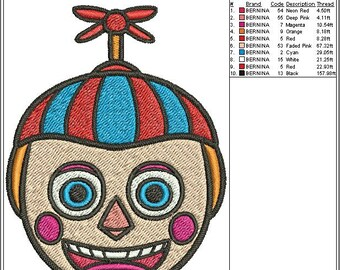 Balloon Boy Five Nights at Freddy's Embroidery Design Fill Stitch 3 sizes instant download