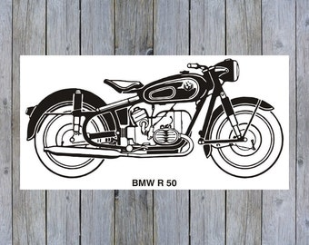 Vintage BMW R50 Motorcycle art poster print
