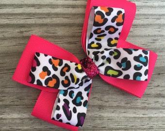 Colorful Cheetah Bow