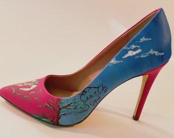 Pink Virgo - Hand Painted High Heels