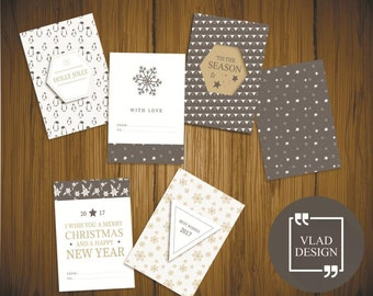 6 Grey winter style cards A5 format Christmas cards DIY Printable cards Winter design cards Digital card Christmas card New year card