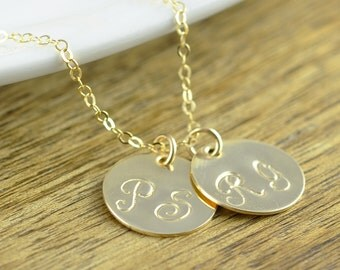 Gold Initial Necklace - Hand Stamped Initial - Gold Name Necklace - Gold Jewelry - 14 kt Personalized Jewelry - Custom Gold Necklace