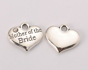 Lot of 5 - MOTHER of the BRIDE Antique Silver (Plated) Heart Wedding Theme Rhinestone Crystal Charms