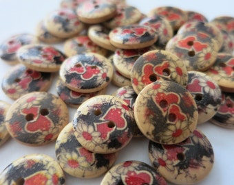 20 Buttons 15mm Wooden Red Love Heart A07