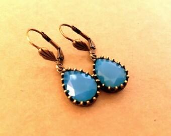 Caribbean Blue Opal Swarovski Crystal Earrings in Antique Bronze Shell Leverback Setting