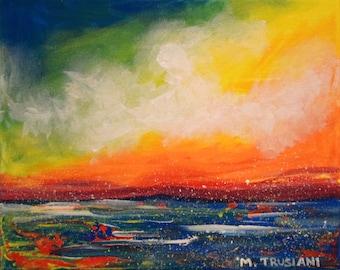 Original Rainbow Sky Ocean Seascape Acrylic Painting
