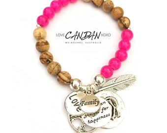 Evil Eye Love Family Bracelet with Tree of Life Guardian Angel for Happiness and Rose Charms