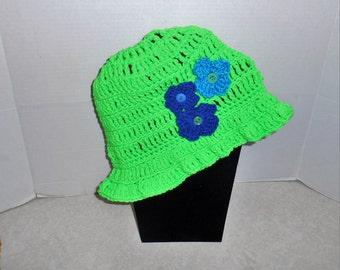 Perky, Bright Adult  CHEMO CAP HAT, Crochet, Stretchy