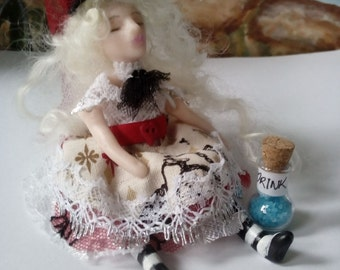 Alice in Wonderland OOAK Art Doll ' Drink me Alice' Alice in Wonderland inspired doll christmas gift collectible  with drink me bottle