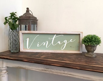 Vintage wood sign, shabby chic home decor