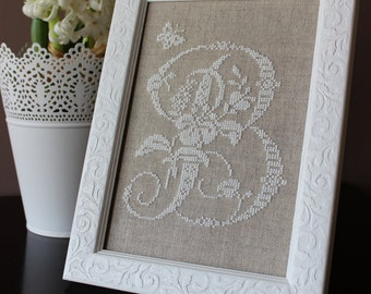 Handmade monogrammed cross stitch, Monogram letter B in style french cross stitch, initial, handmade art, Floral alphabet,Wood frame,picture