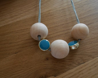 Necklace balls made of wood and blue beads - Wooden balls necklace