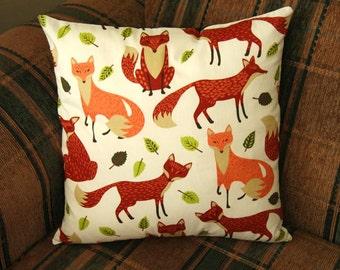 Fox Cushion Cover - Decorative Pillow - Handmade Cushion Cover - Woodlands Cushion Cover