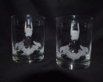 Batman Inspired etched drinking glass