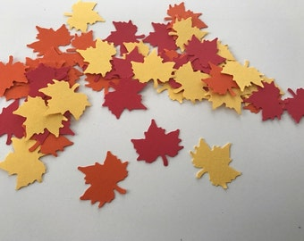 50 multi color die cut fall leaves