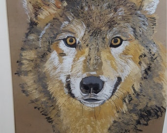 Wolf detail in pastel and colored pencil