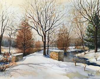 Winter Road Painting, Winter Landscape, Watercolor Wall Art - Print
