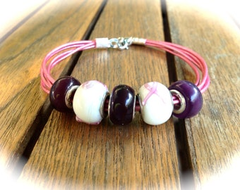 Pink leather bracelet and pearls