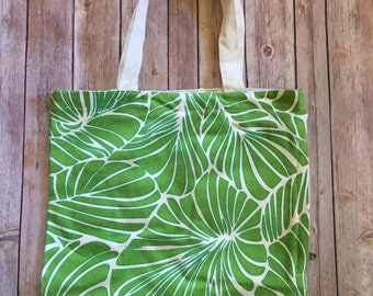 Eco Friendly Side Zipper Canvas Tote Bag - Green Leaf Design - Free Shipping