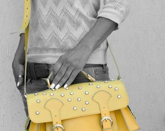 Leather messenger bag, Handmade Messenger bag, Yellow Cross body bag, Unique handbag, Colortherapy collection!