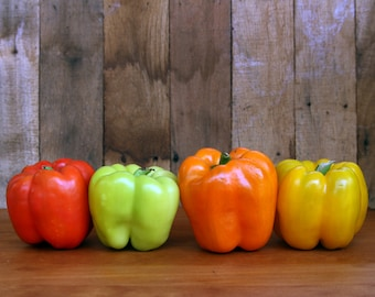 Bell Peppers Yellow Orange and Green Photograph Print