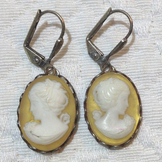 Gold - Cameo Earrings - Hand Dyed